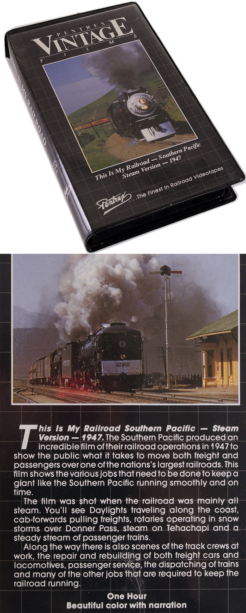 Артикул 11785-85  Видеокассета с фильмом This is My Railroad Southern Pacific - Steam Version - 1947. Продолжительность 1 час. Данный фильм сделан на основе цветных киносъемок 1947 года, и показывает изнутри работу поездов, различных заданий, а также способов обслуживания путей в ненастную погоду. Есть отличное цветное видео разных поездов, работа стрелочников, красоты природы, включая горы Сьерра-Невада, и многое другое. Очень захватывающе выглядят сцены по удалению снега с путей в горах Сьерра-Невада. На английском языке.