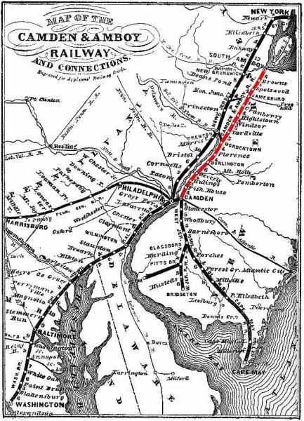 Карта дороги C&A и сопредельных с ней дорог 1869 года